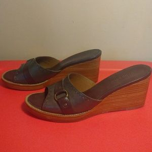 HS Trask Shoes - H.S. Trask & Co 8 Brown Olive Green Wedge Sandals